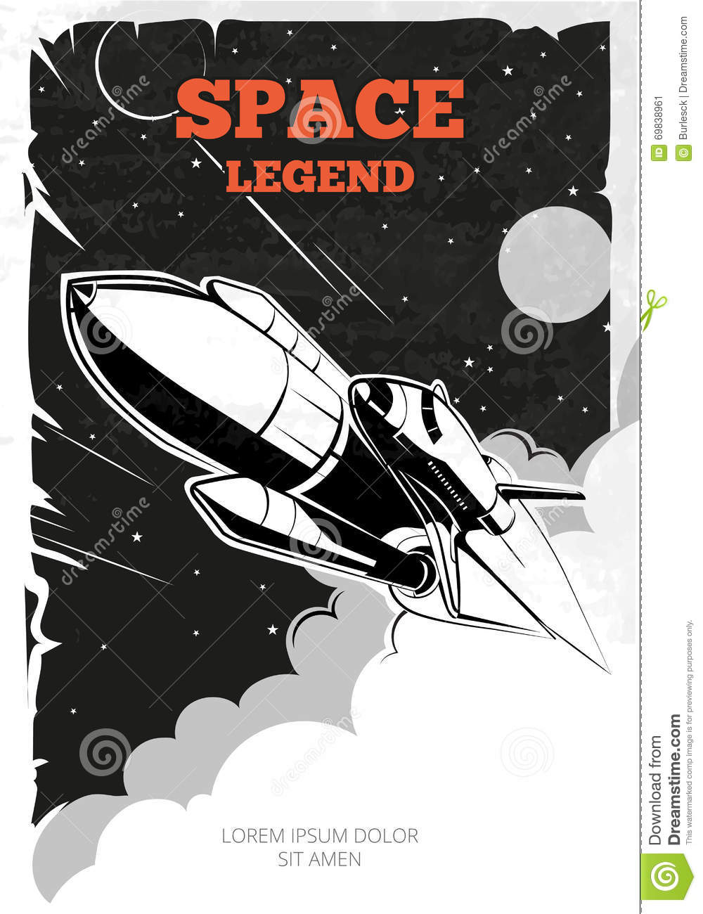 Vintage space vector poster with shuttle