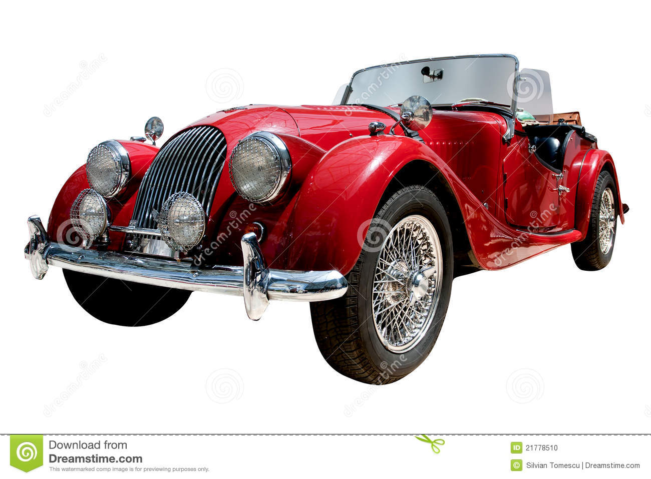 Vintage sport convertible classic car with alloy wheels. Clipping path