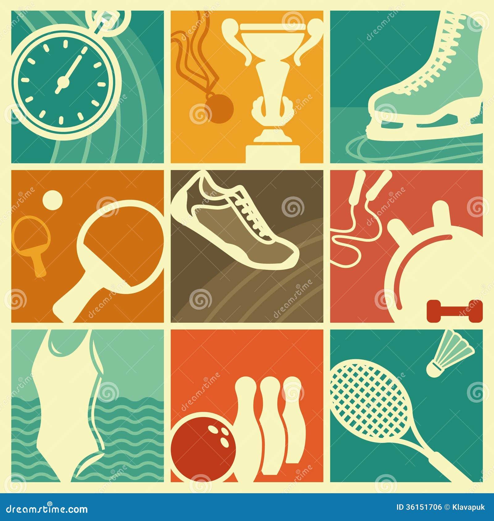 Vintage Sport Symbols Royalty Free Stock Image