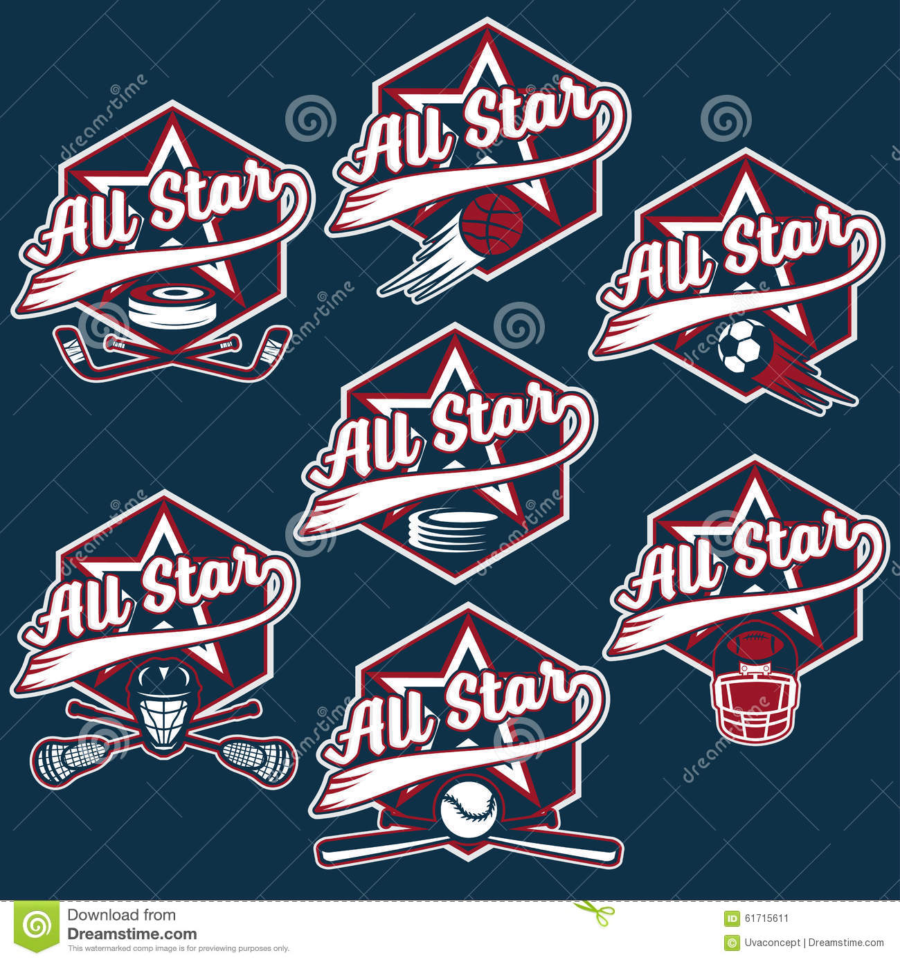 Vintage Sports All Star Crests Stock Vector