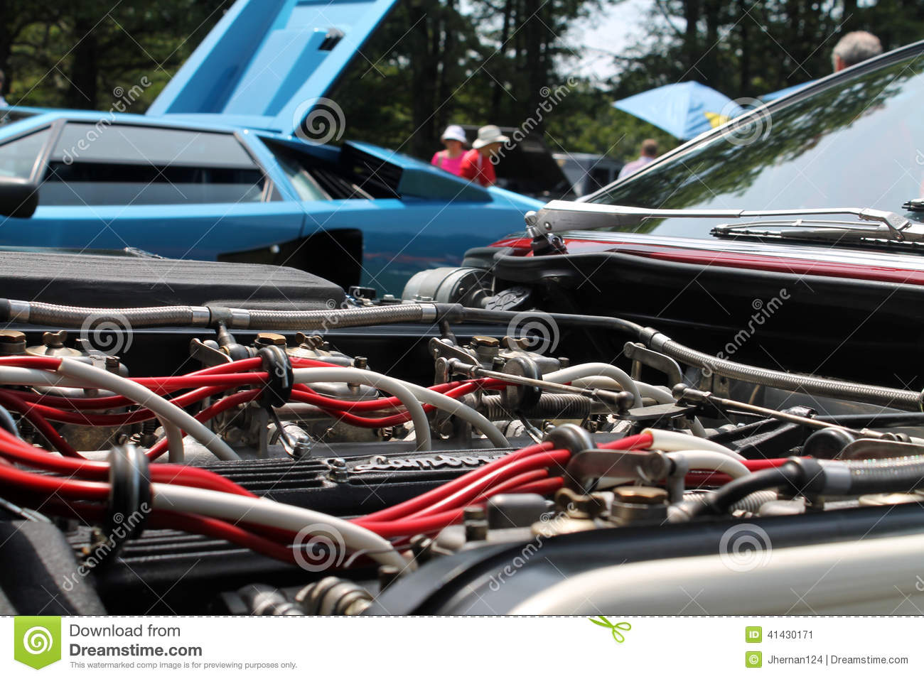 Vintage Sports Car Engine Bay View Editorial Photo Image Of