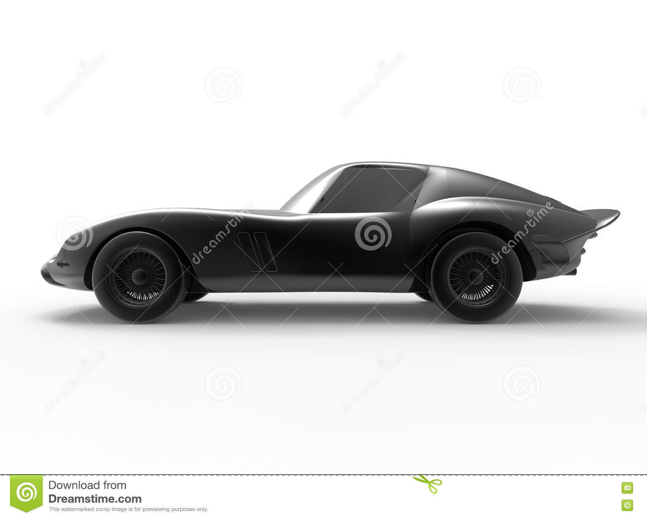 vintage sports car. The image illustrates the side view of the car