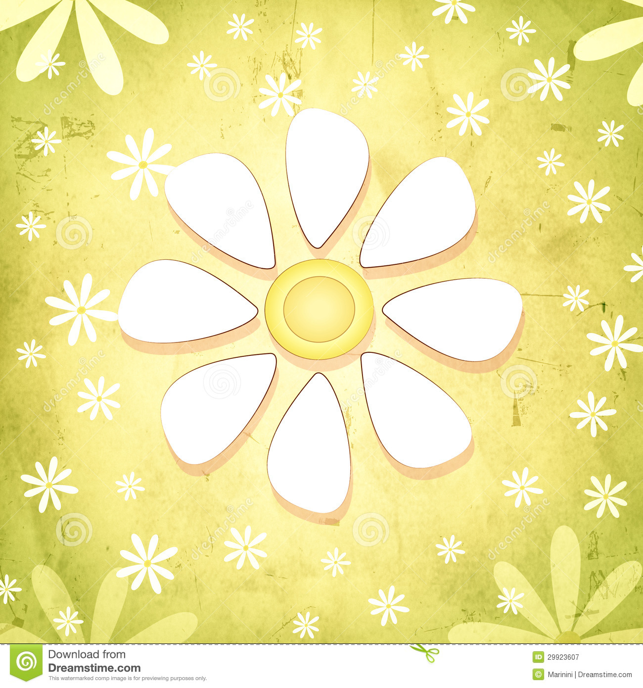 Spring White Flower Over Vintage Green Background With