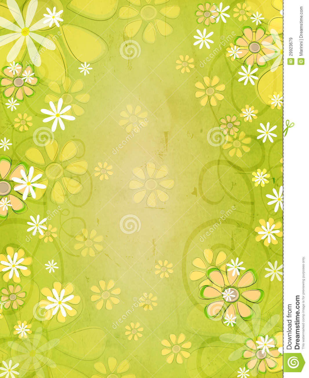 Spring White And Yellow Flowers Over Vintage Green