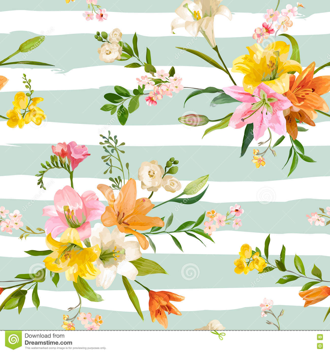 Vintage Spring Flowers Background Seamless Floral Lily Pattern