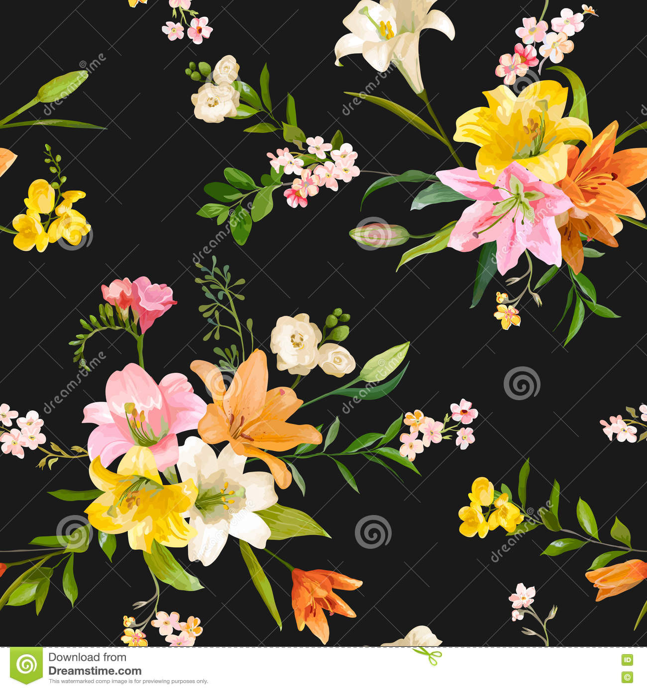 Vintage spring flowers background seamless floral lily pattern download comp mightylinksfo