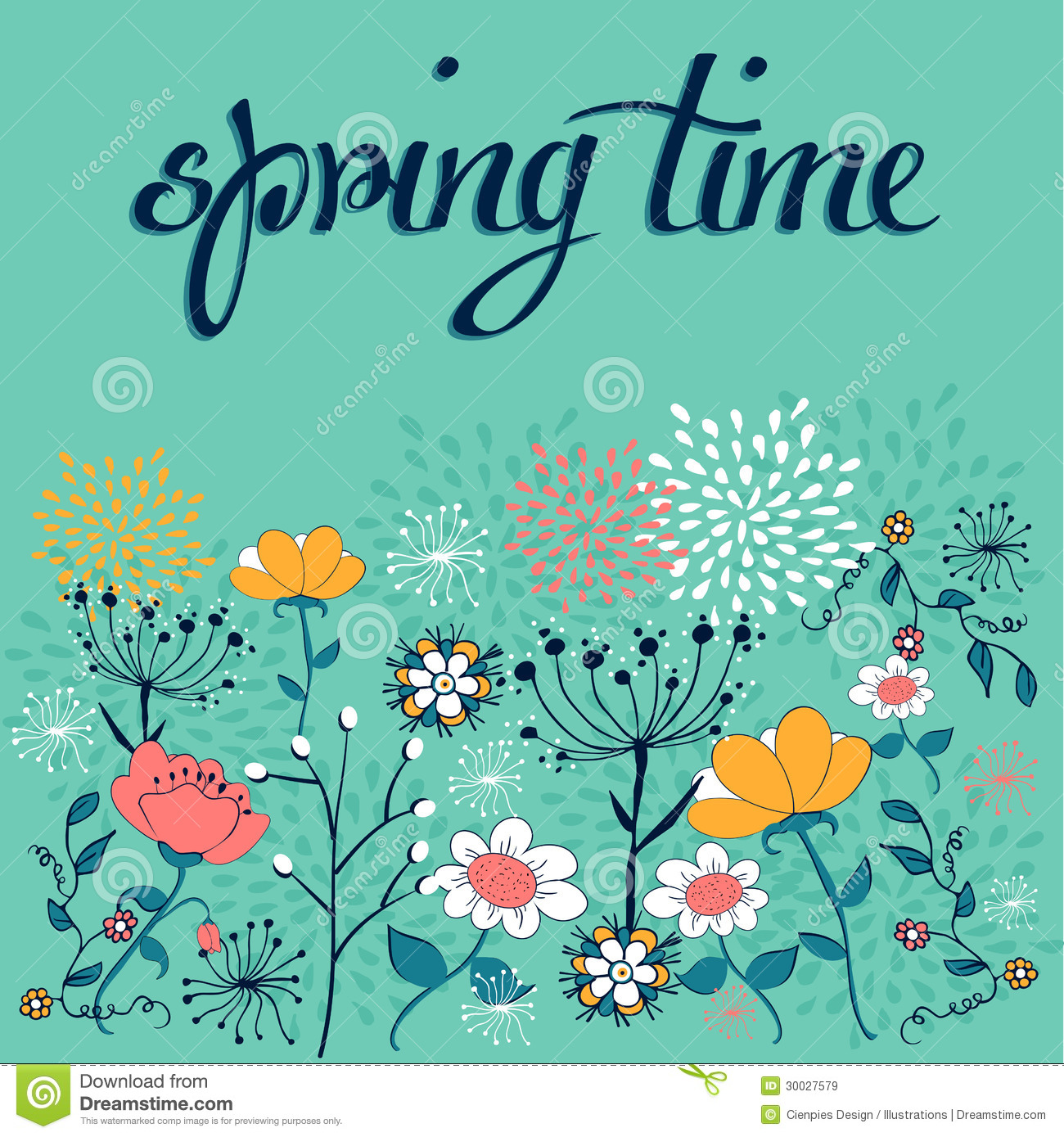 Spring Time Flower Background Stock Vector Illustration Of Bouquet