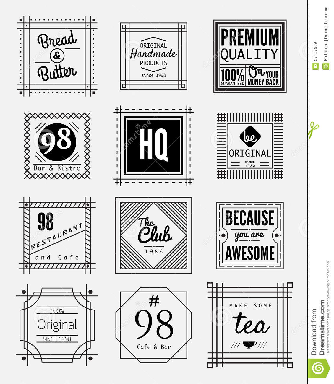 12 vintage square badges collection