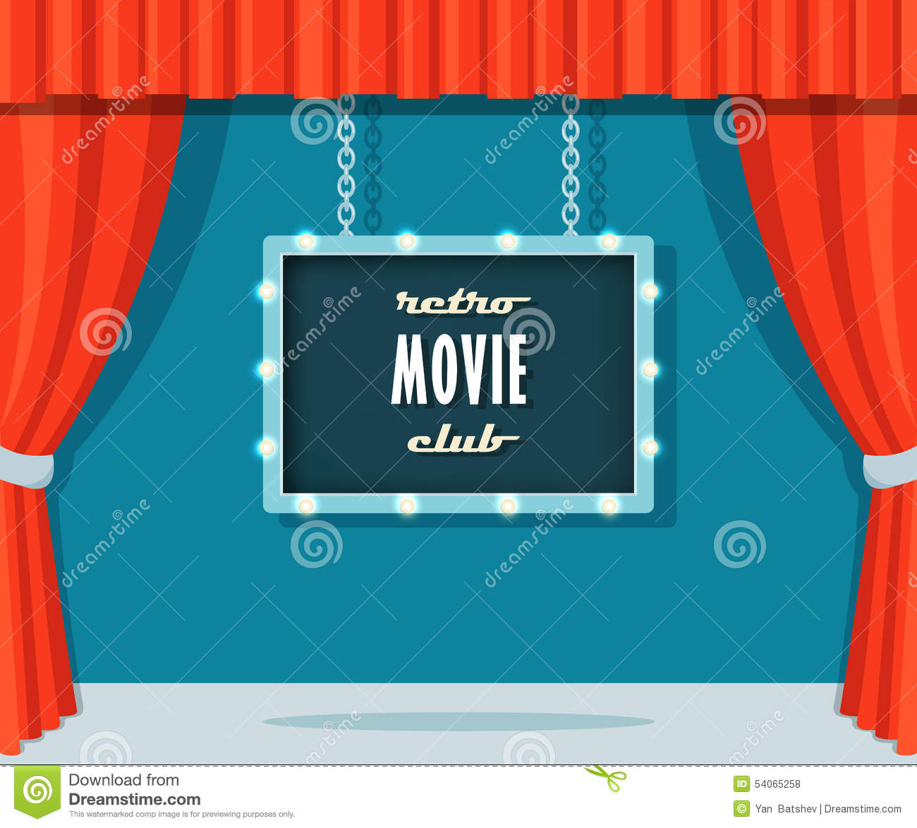 Velvet curtain club - Vintage Stage With Red Curtains And Marquee Sign Retro Movie Club