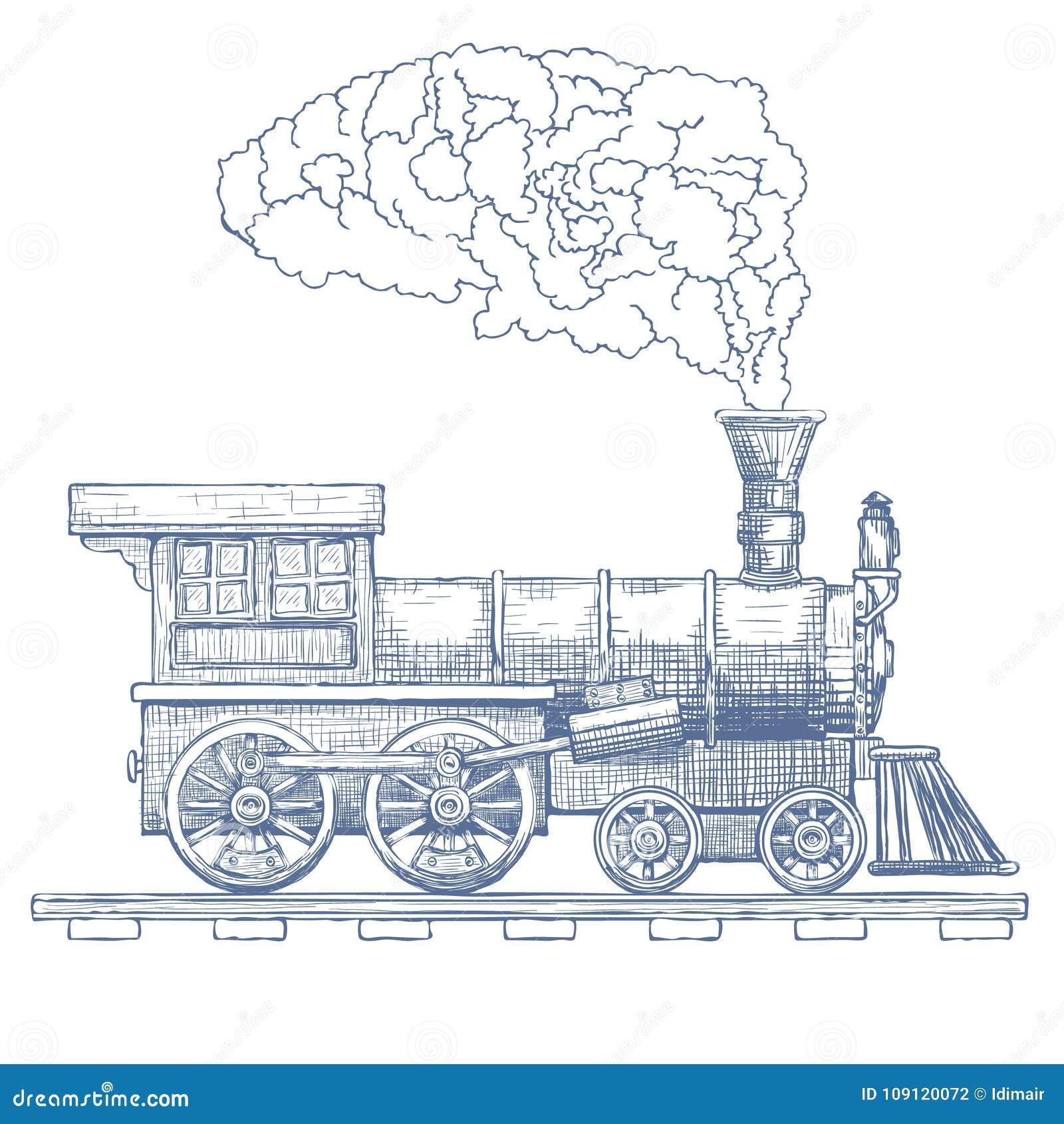vintage steam locomotive vector logo design template train or