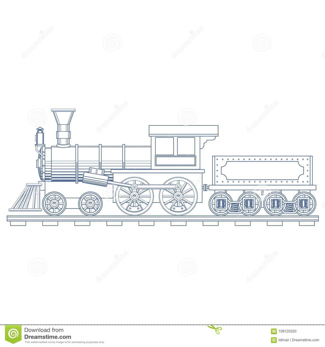 Vintage Steam Train Engrave Illustration Vector Stock Car Engine Diagram Download Of Metal Rail