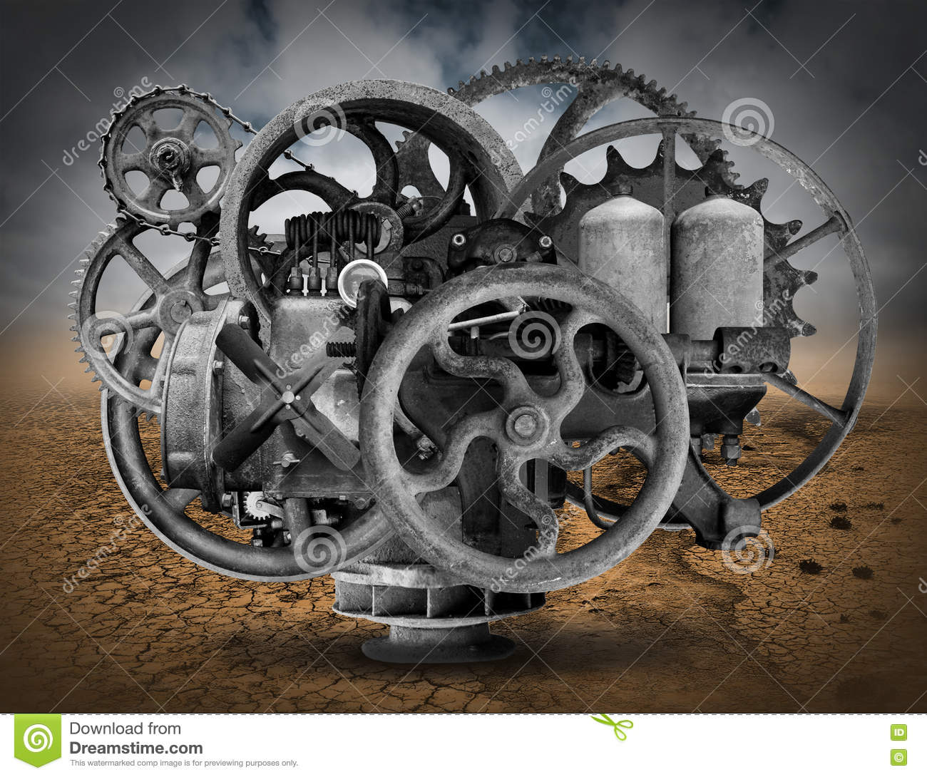 Old Engine Gears : Vintage steampunk industrial machine background stock