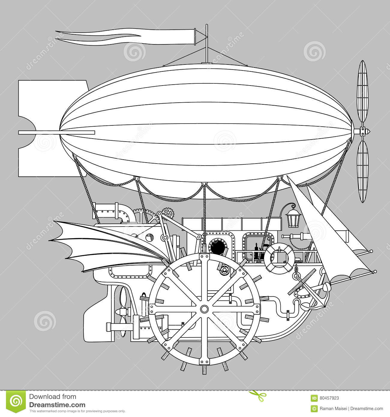 vintage steampunk template with a complex fantastic flying ship