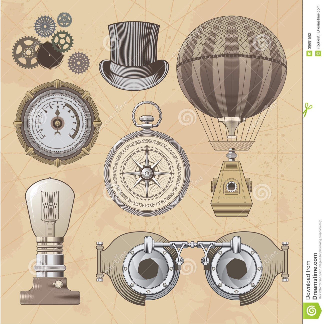 Vintage steampunk vector design set stock vector for What is steampunk design