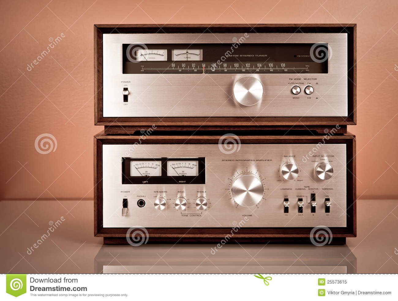 Vintage Stereo Amplifier And Tuner Stock Image Image Of
