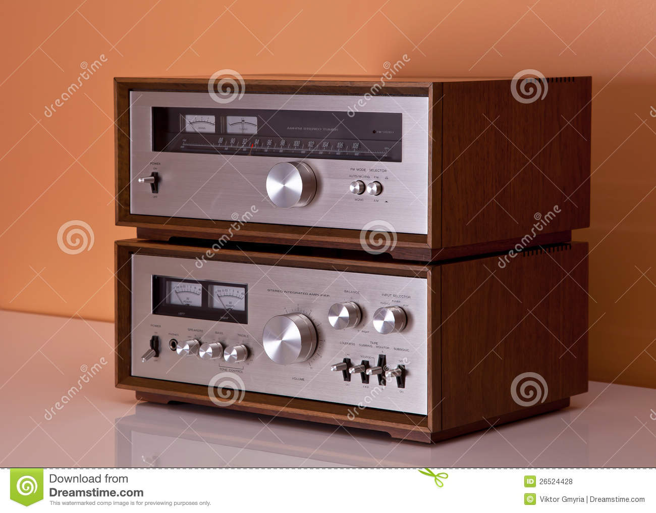 Vintage stereo amplifier and tuner wooden cabinets stock photo download comp publicscrutiny Image collections