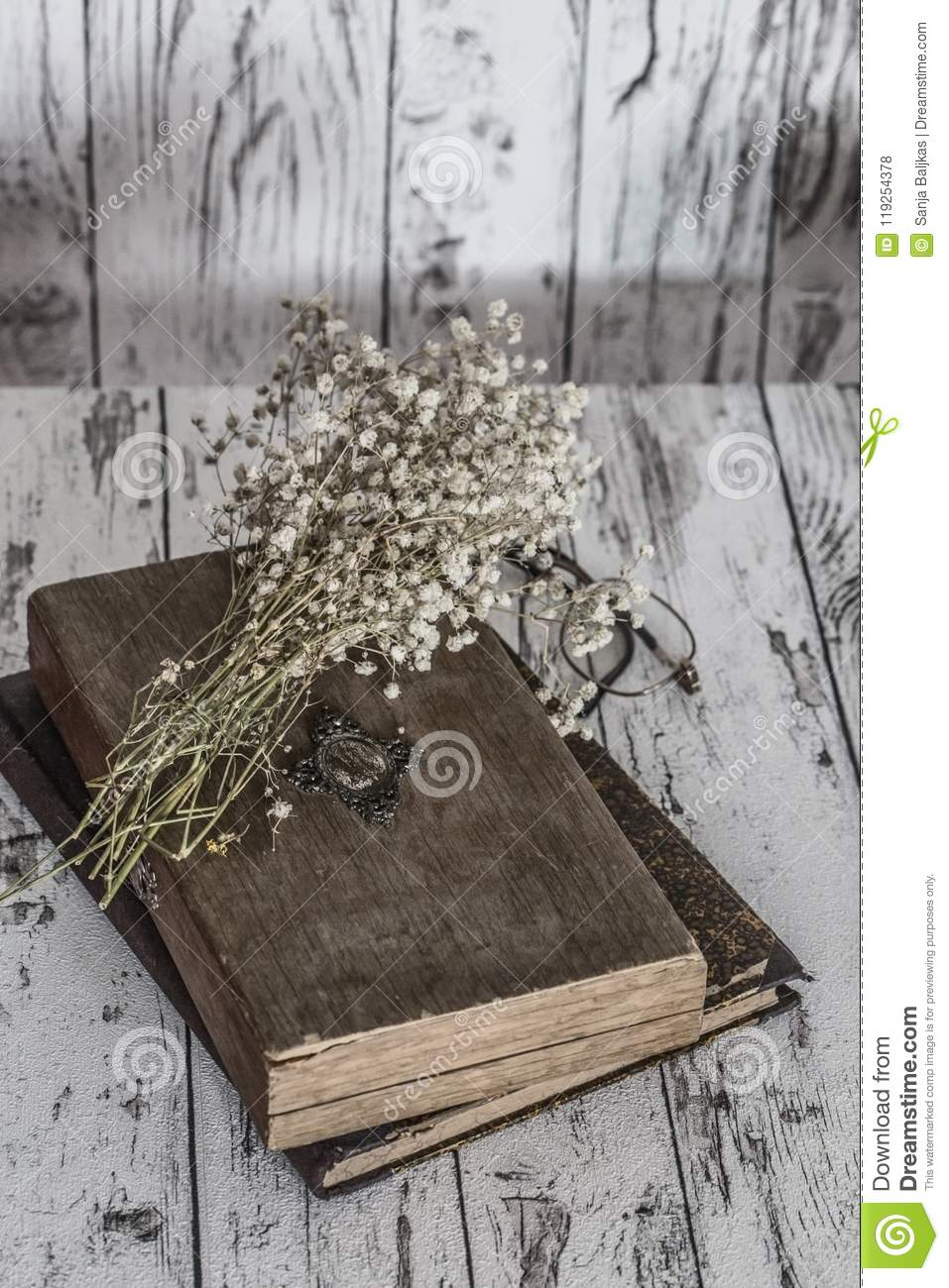 Vintage Still Life Books Glasses And White Dried Flowers Stock