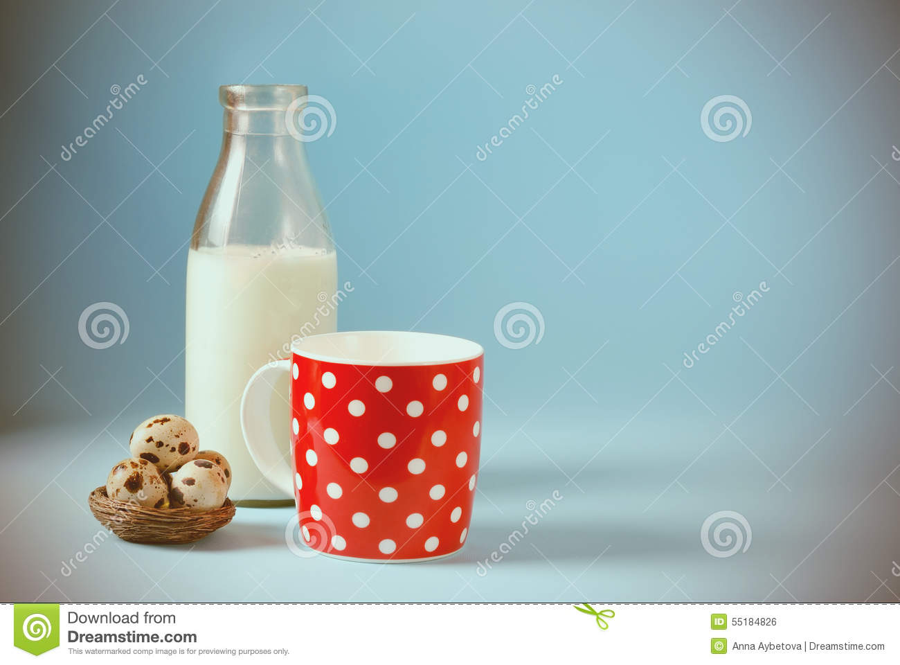 Vintage Still Life With Red In Polka Dot Cup Of Milk