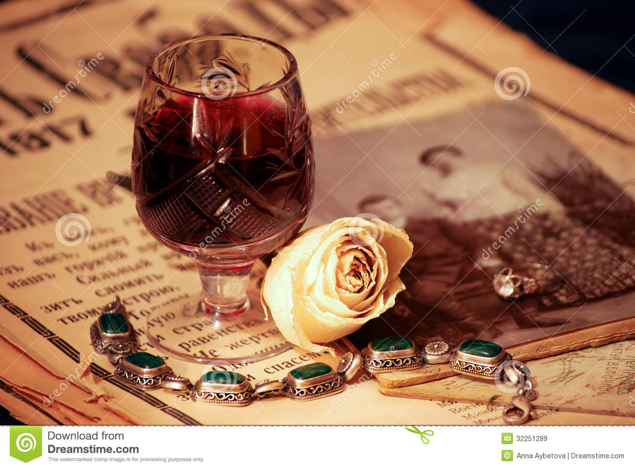 Vintage Still Life With Wine Royalty Free Stock Images
