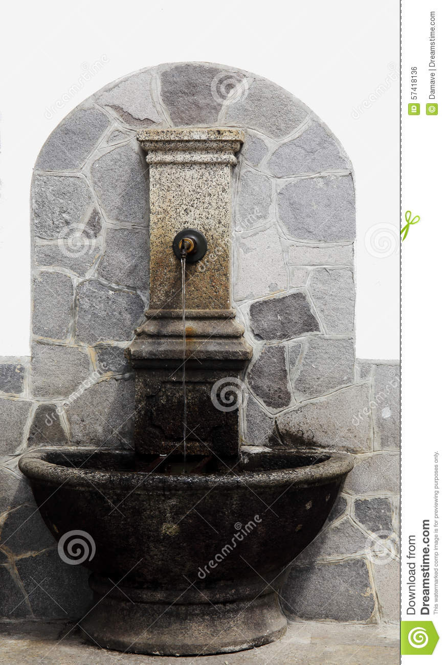 Vintage Stone Drinking Fountain Stock Photo - Image of image ...