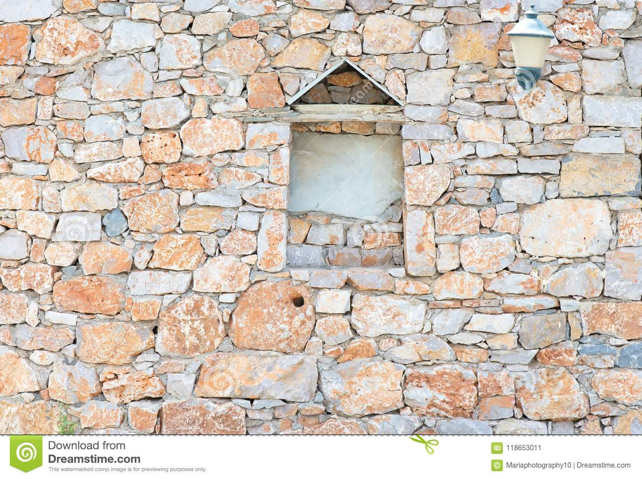 Vintage stone wall with different geometric shapes