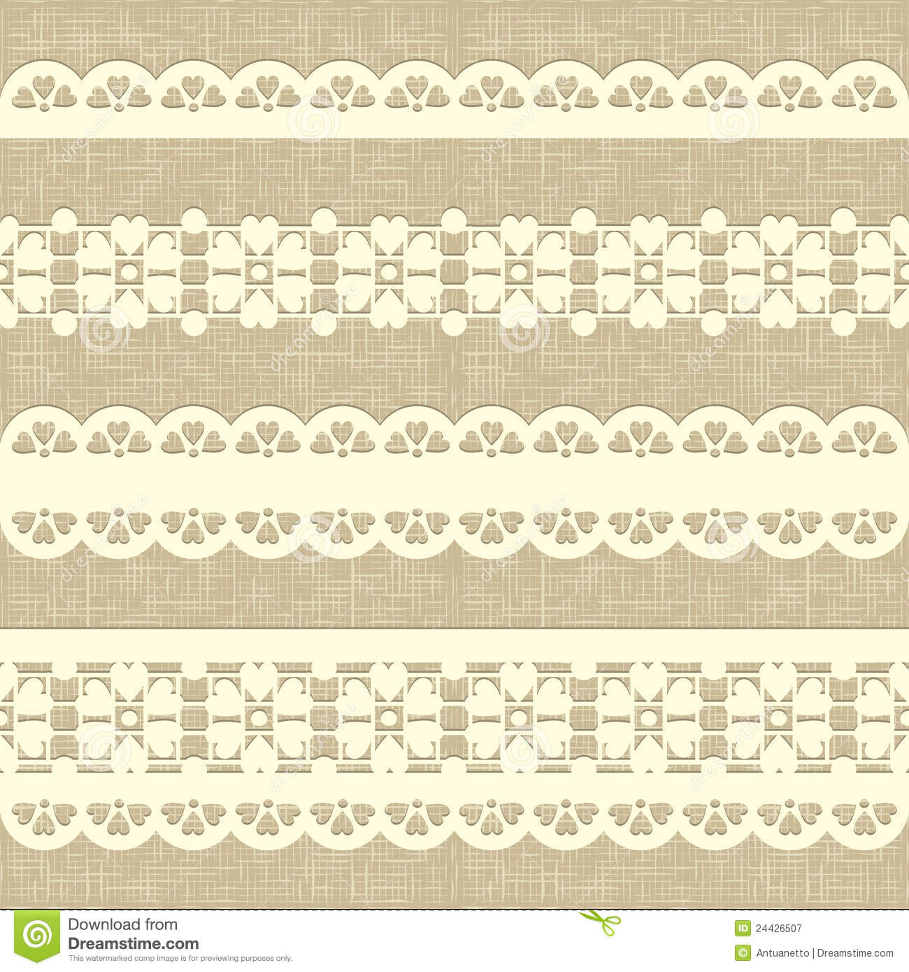Vintage straight lace on linen canvas background.