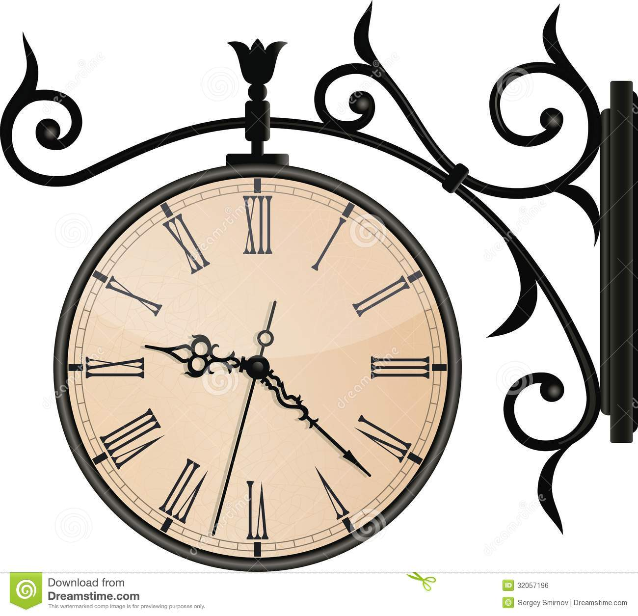 Vintage Street Clock Eps10 Royalty Free Stock Image