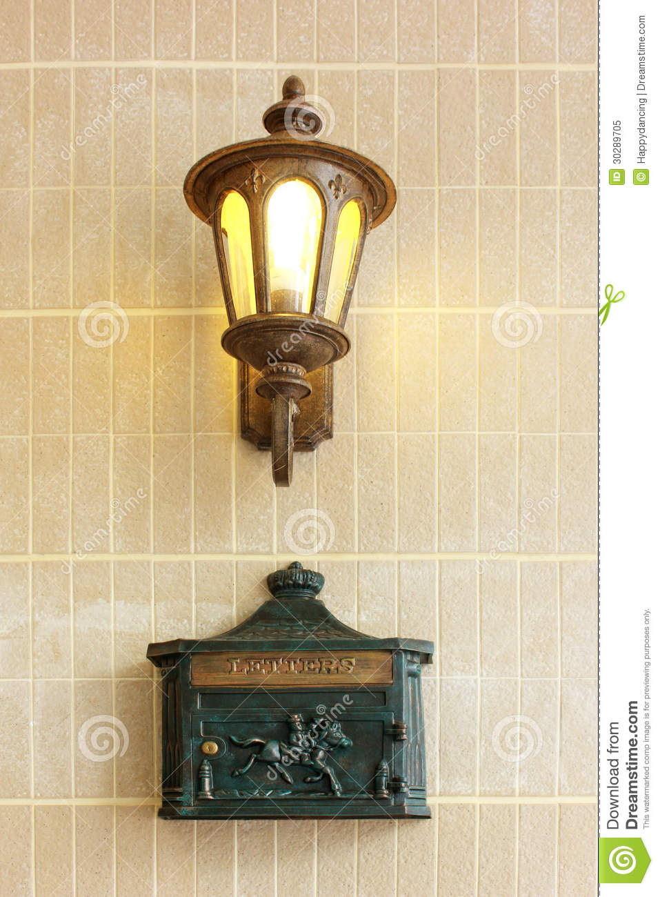 vintage street lamp with letter box