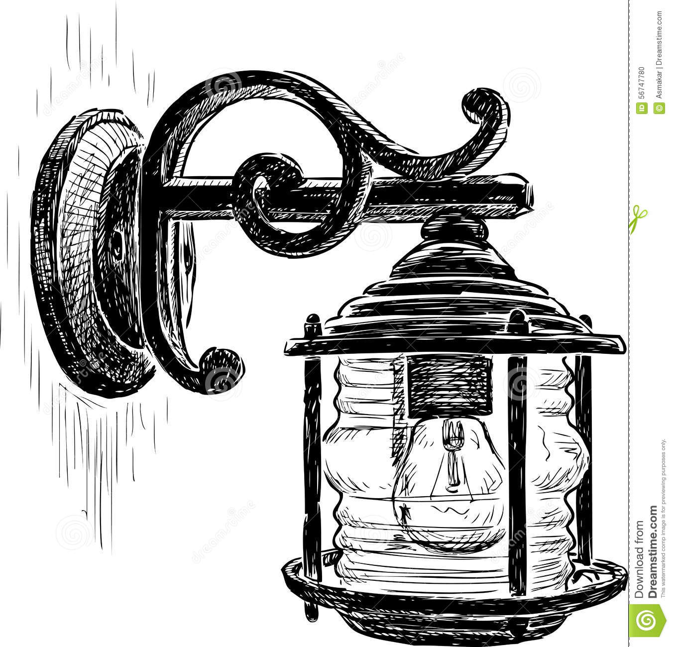 Porch Light Drawing: Vintage Street Lamp Stock Vector. Image Of Sketch