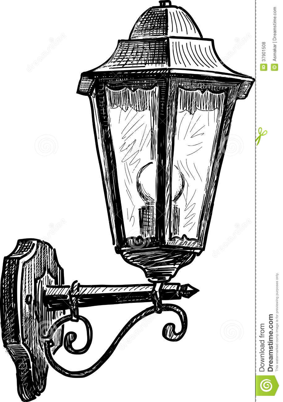 Vintage street lamp stock vector. Illustration of urban - 37901508 for Street Lamp Drawing  110zmd