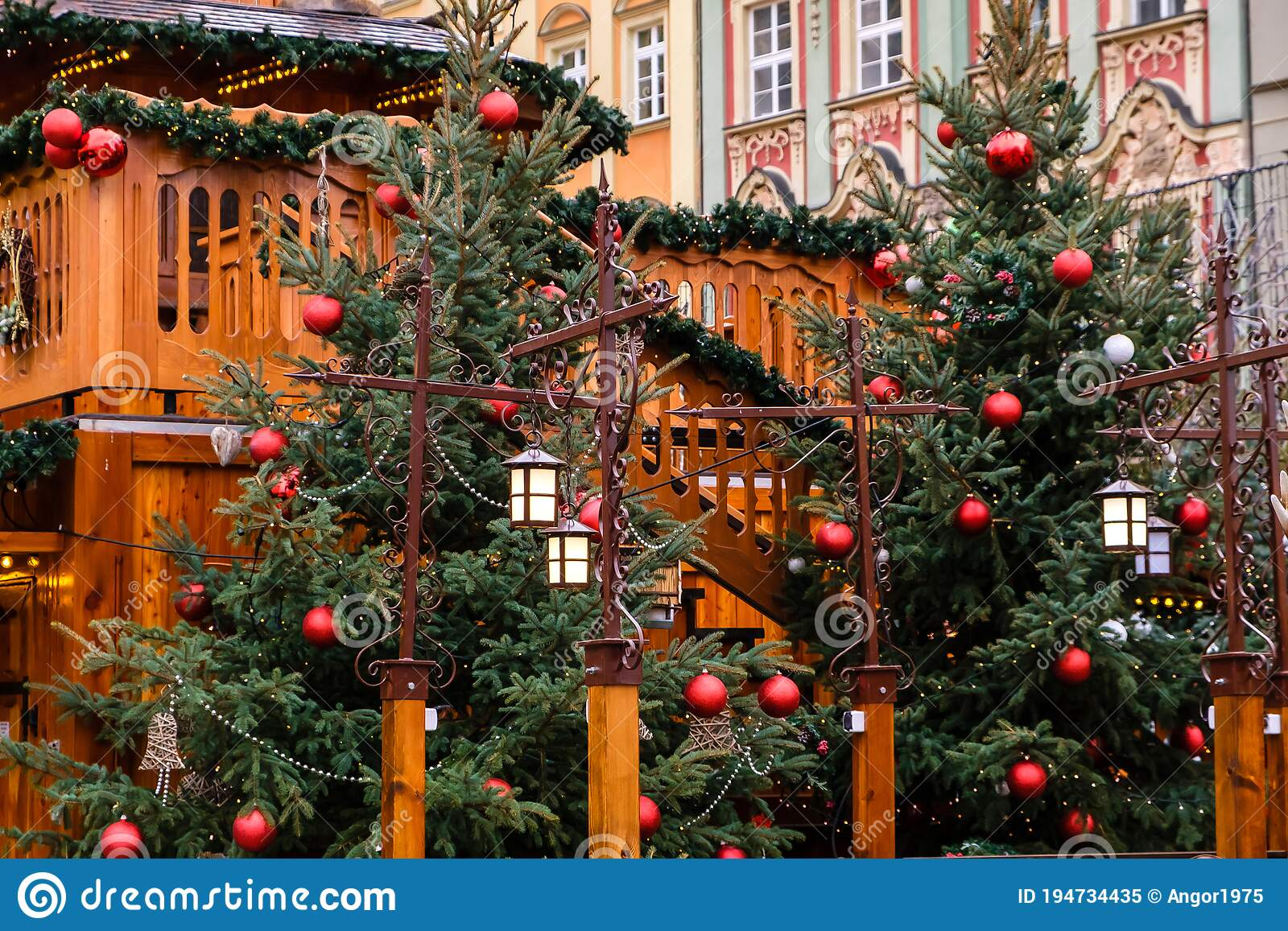 Vintage Street Lanterns And Red Christmas Balls With Led Garlands On Decorated Natural New Year Trees On Festive Christmas Fair On Stock Image Image Of Holiday Lantern 194734435