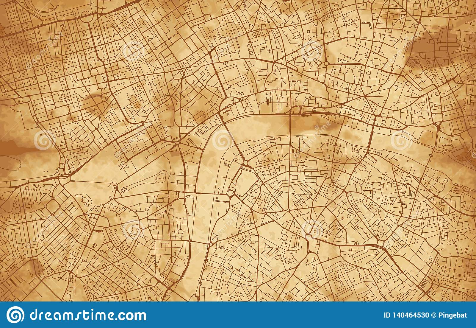 Map City London.Vintage Street Map Of The City Of London Stock Vector Illustration