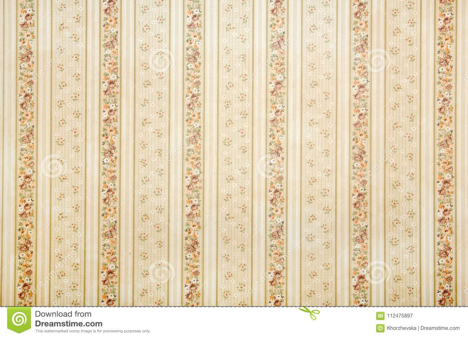 Vintage Striped Wallpaper With Floral Pattern Stock Illustration