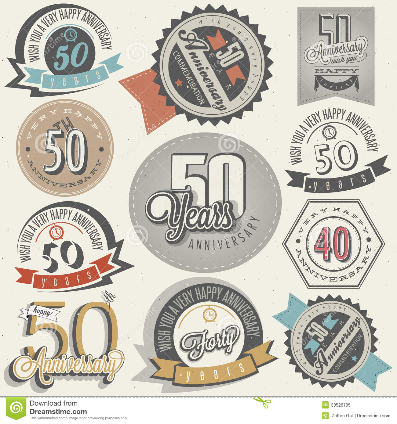 Vintage Style 50 Anniversary Collection. Stock Vector ...