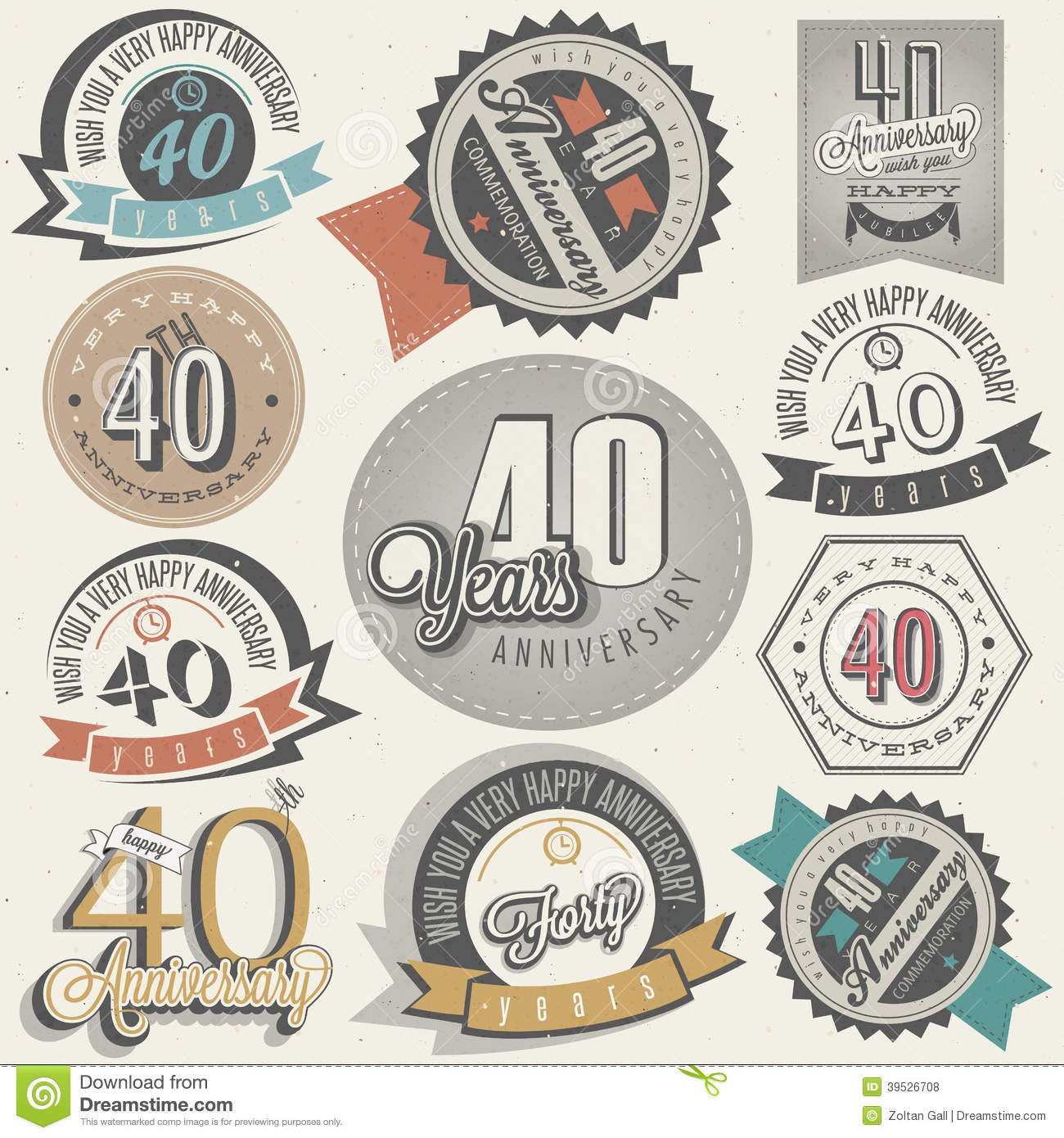 Vintage style 40 anniversary collection stock vector image 39526708 - Retro stuhle gunstig ...