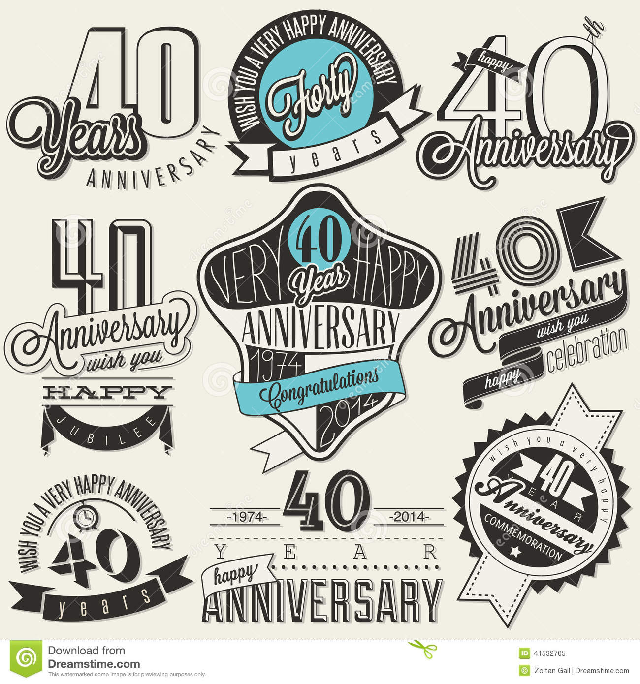 Vintage Style 40 Anniversary Collection. Stock Vector ...