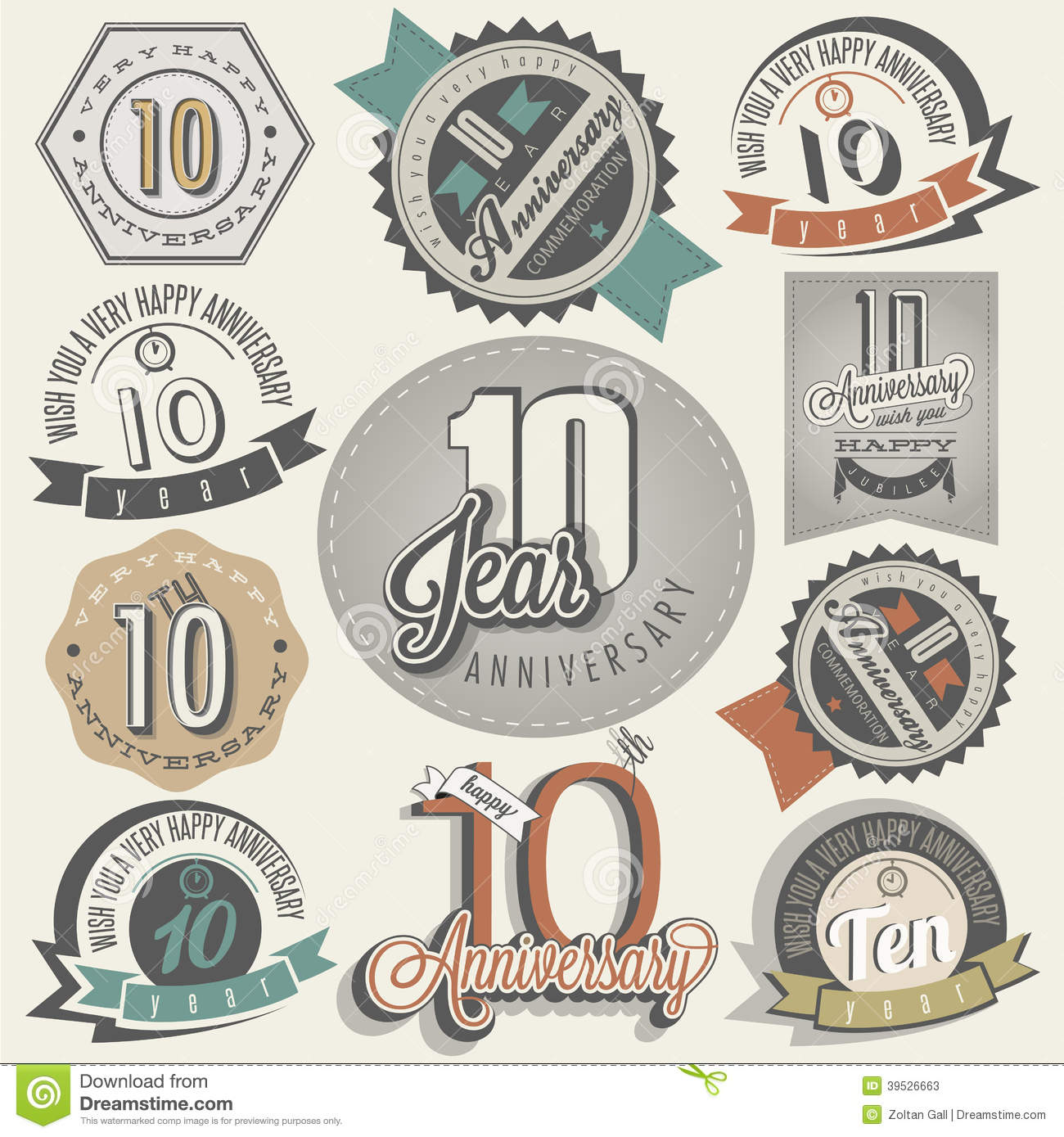 Vintage style 10 anniversary collection stock vector vintage style 10 anniversary collection biocorpaavc