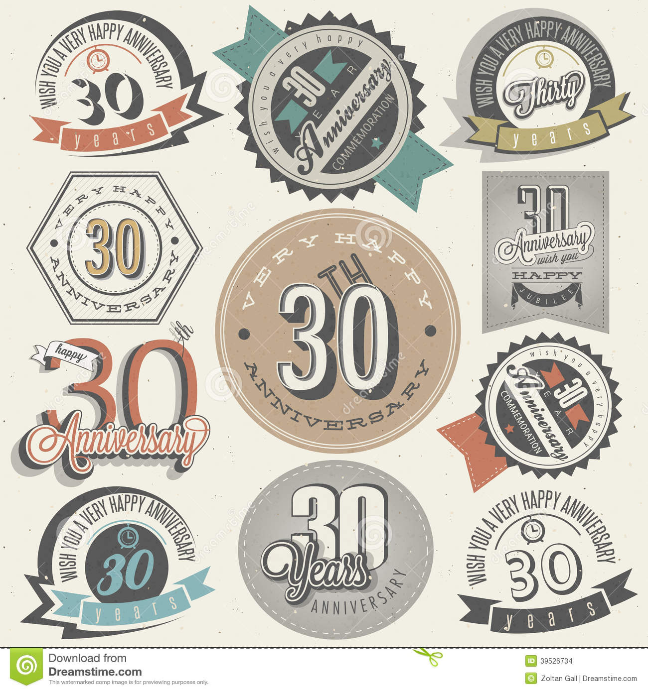30 Year Anniversary Symbol: Vintage Style 30 Anniversary Collection