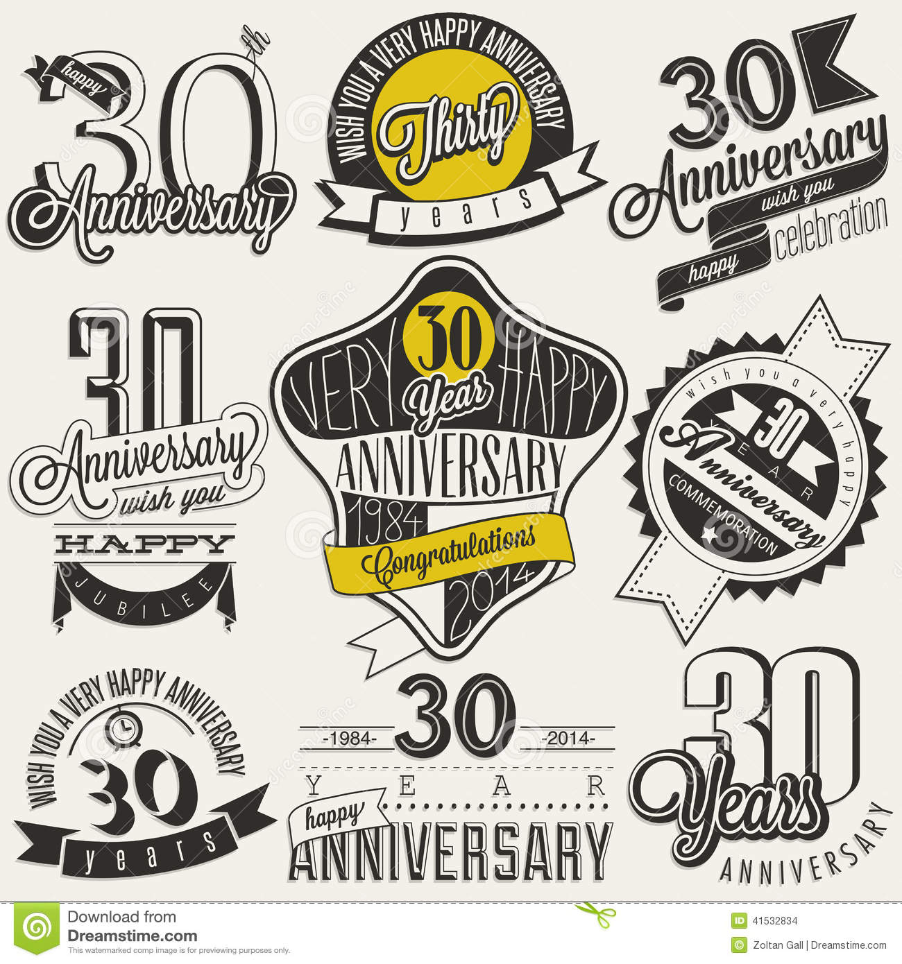 30 Year Anniversary Symbol: Vintage Style 30 Anniversary Collection. Stock Vector
