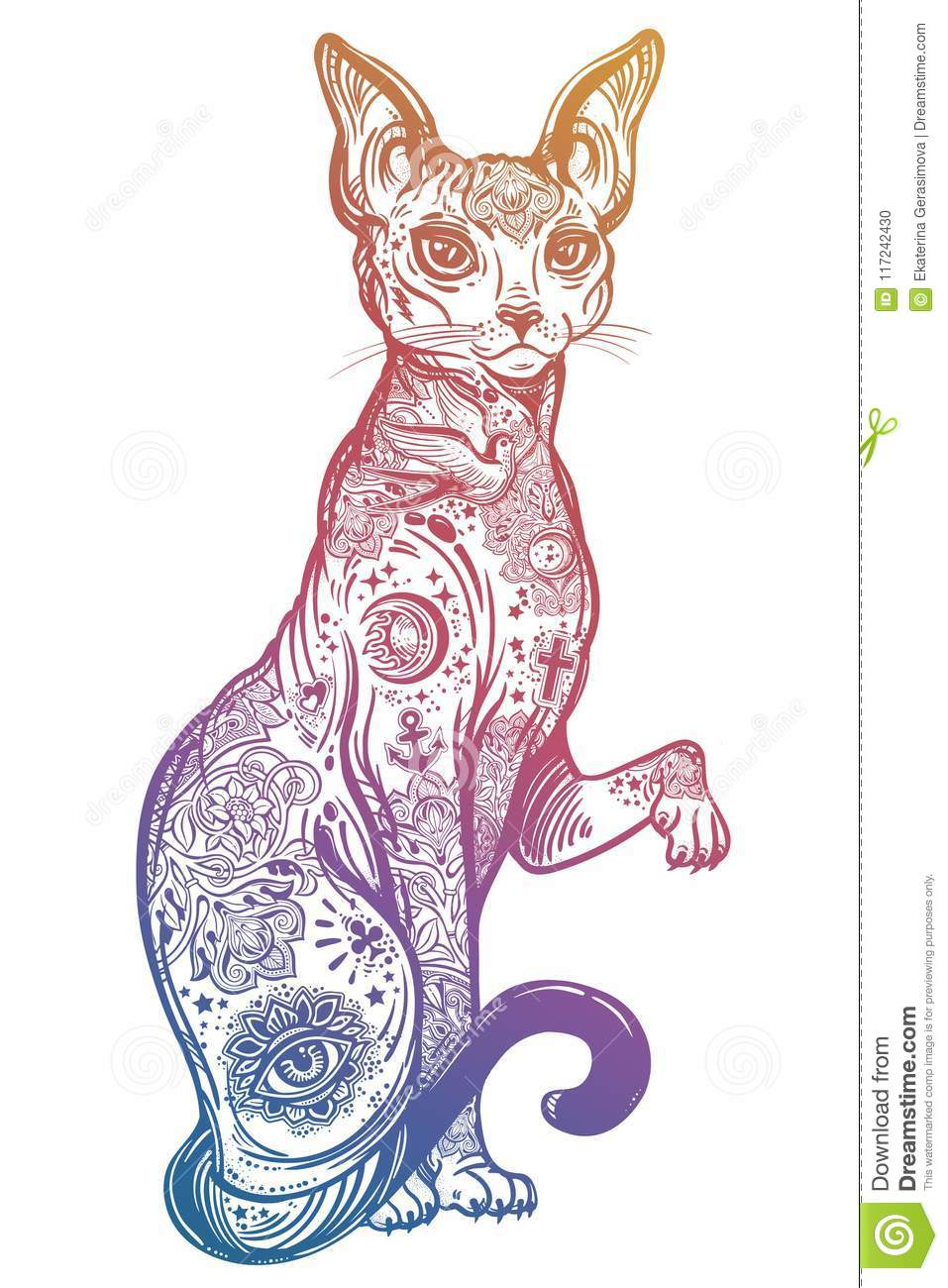 Vintage Style Cat With Body Flash Art Tattoos. Stock Vector ...