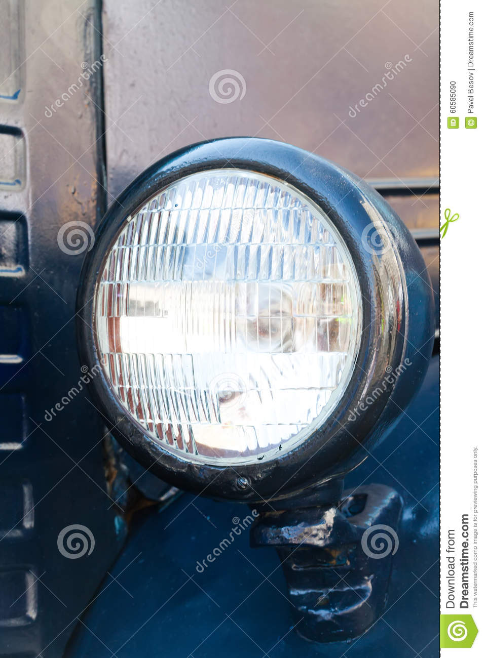 Vintage Style Blue Car Headlight. Close-up Stock Photo - Image of ... for Truck Light Texture  557ylc