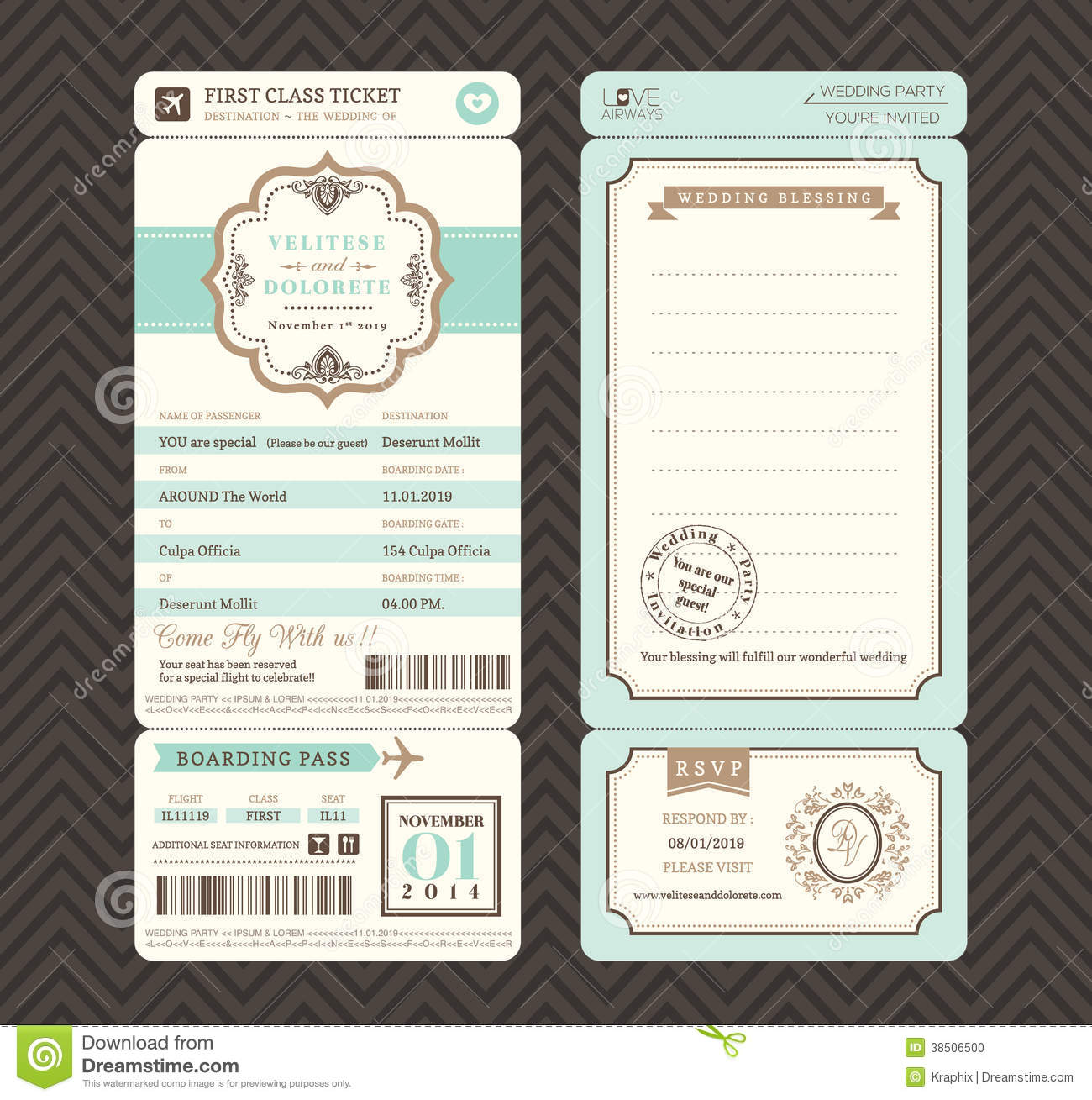 Vintage Style Boarding Pass Ticket Wedding Invitation Template Stock