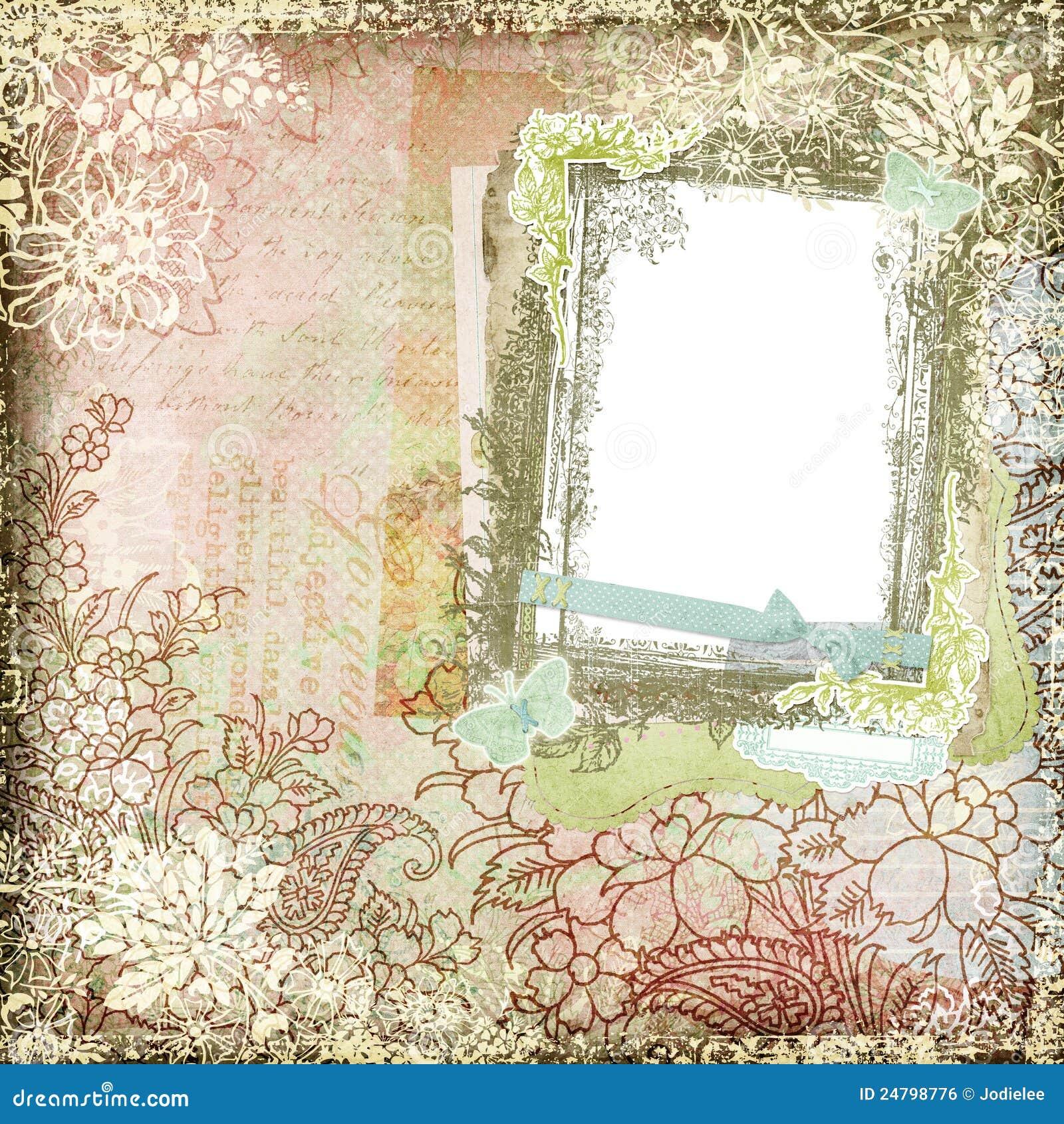 Vintage Style Botanical Floral Background Frame 3