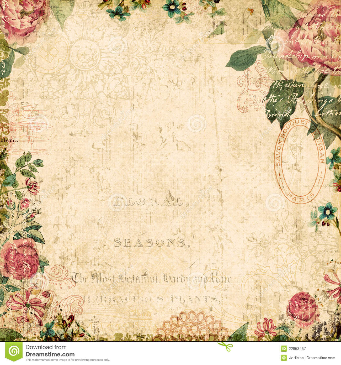 Http Www Dreamstime Com Royalty Free Stock Photography Vintage Style Botanical Floral Framed Background Image22953467