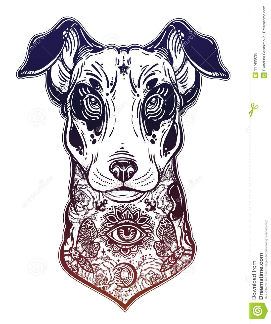 Vintage Style Bull Terrier In Flash Art Tattoos. Stock Vector ...