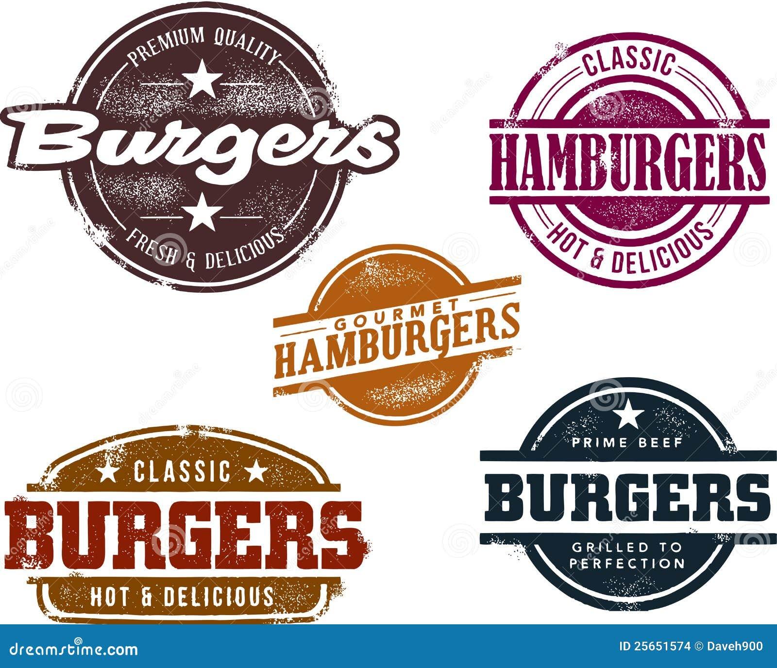 Vintage style burger stamps stock vector illustration for Vintage stuhle gunstig