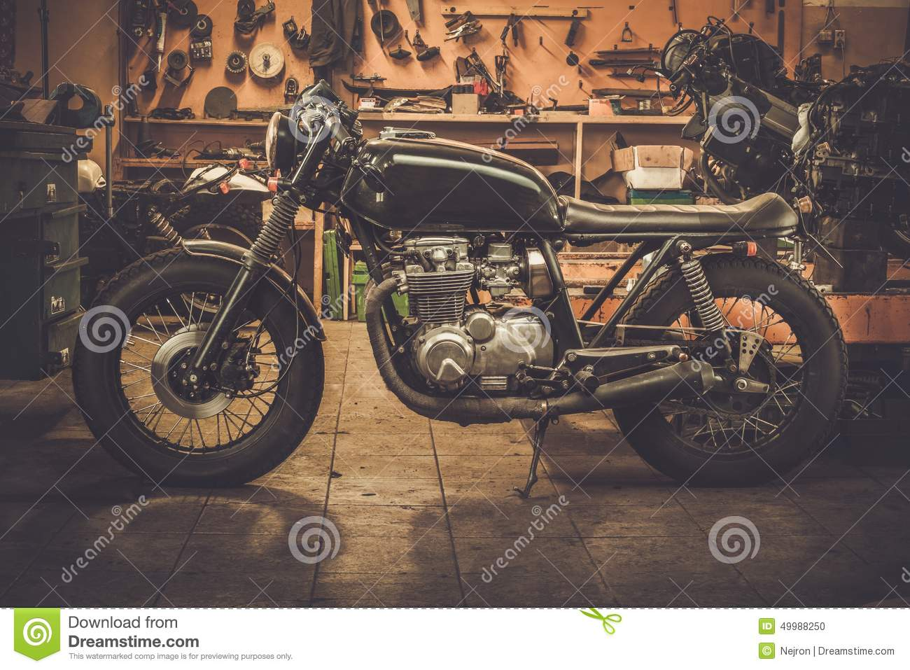 Vintage style cafe-racer motorcycle