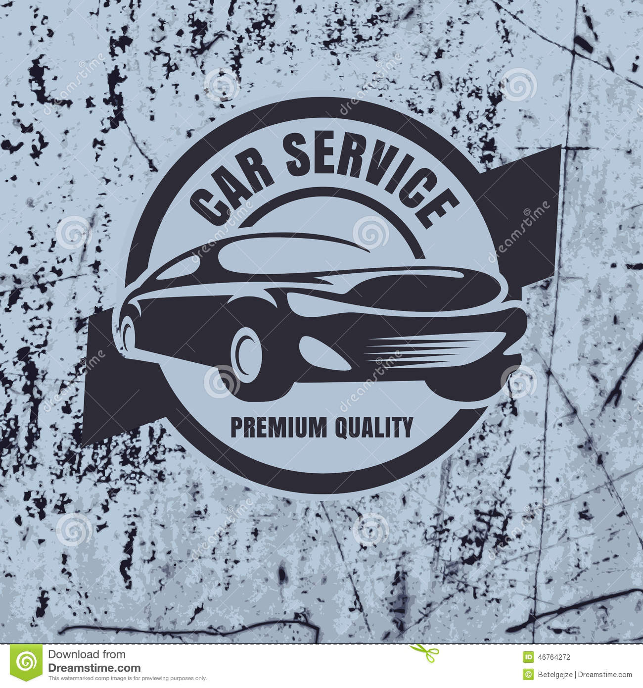 Vintage Style Car Repair Service Label On Rusty Background. Vect ...