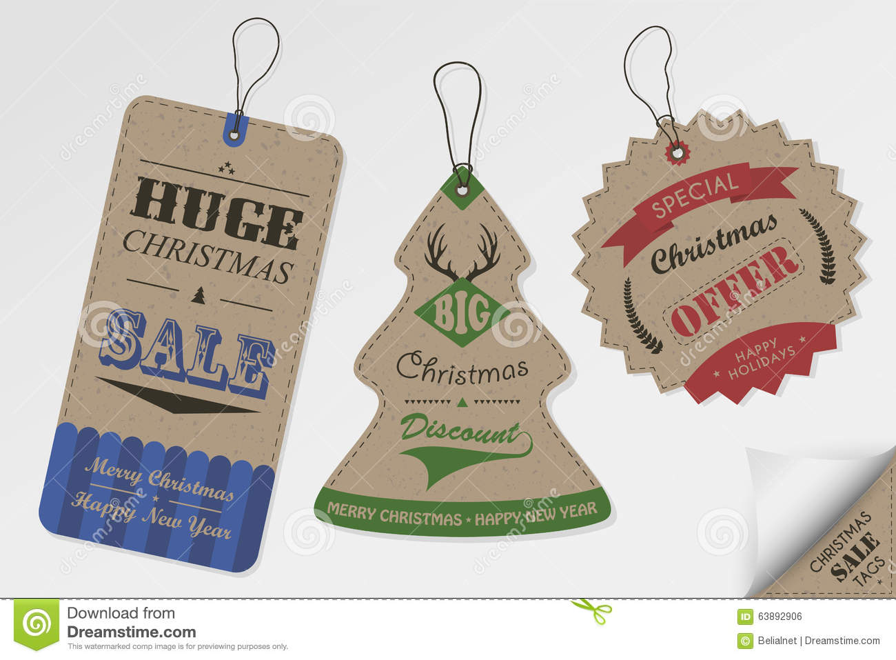 Christmas Design Sale Style Tags Vintage