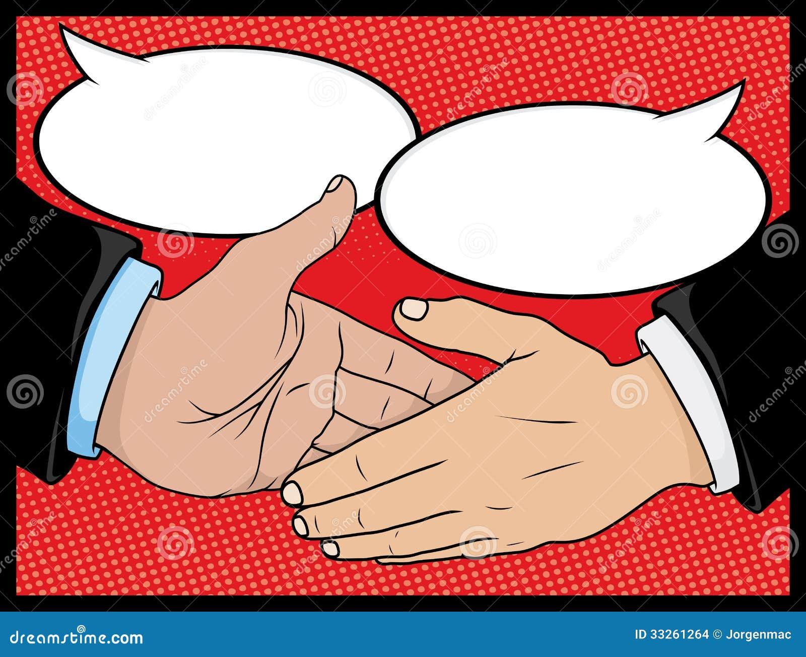 Comic Book Style Handshake Stock Vector Illustration Of Friends